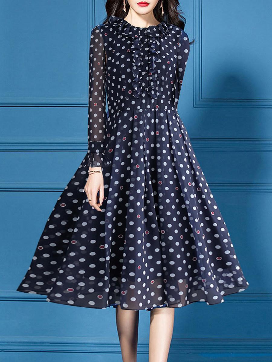Asymmetric Neck Polka Dot Skater Dress