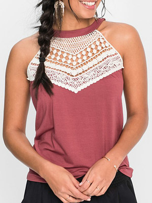 Round Neck Patchwork Lace Sleeveless T-Shirts
