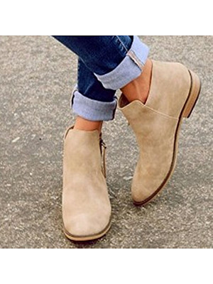 BERRYLOOK / Plain  Flat  Velvet  Round Toe  Outdoor Ankle Boots