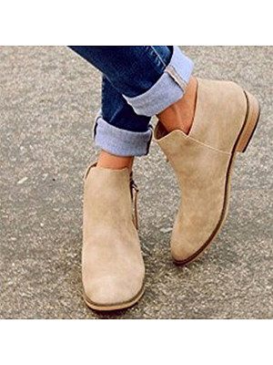 Plain Flat Velvet Round Toe Outdoor Ankle Boots фото
