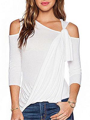 Spring Summer Cotton Women Open Shoulder Asymmetric Hem Long Sleeve T-Shirts