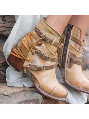 Plain Chunky Mid Heeled Round Toe Casual Outdoor Flat Boots фото