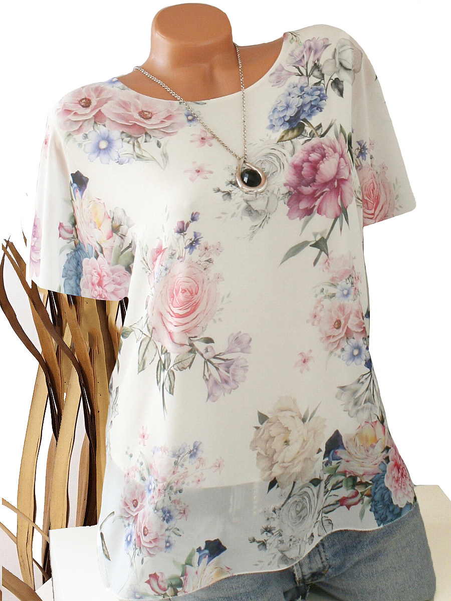 BerryLook Round Neck  Patchwork  Floral Printed Short Sleeve T-Shirts