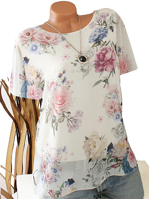 Round Neck Patchwork Floral Printed Short Sleeve T-Shirts фото