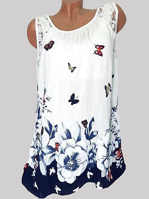 Round Neck Loose Fitting Patchwork Print Sleeveless T-Shirts, 6969423