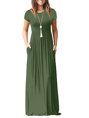 Round Neck Patch Pocket Plain Maxi Dress, 4488200