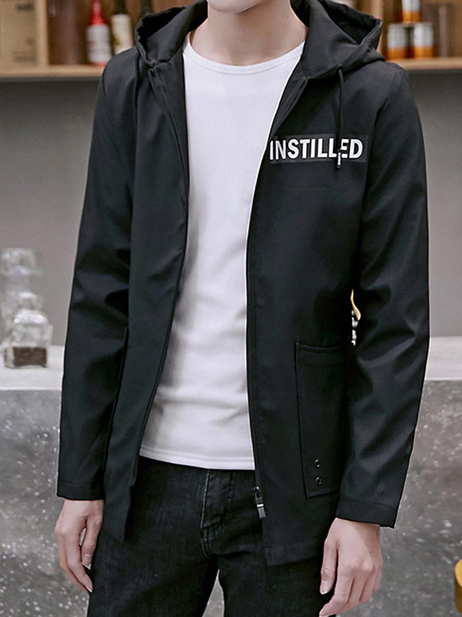 Hooded Patch Pocket Letters Men Jacket
