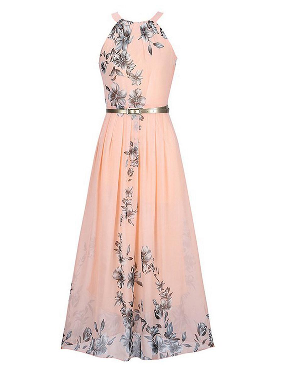 Halter  Belt  Floral Printed Maxi Dress