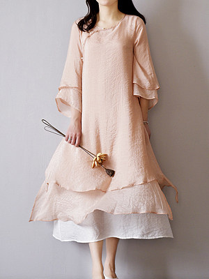 Sweet Heart Decorative Buttons Color Block Bell Sleeve Maxi Dress фото