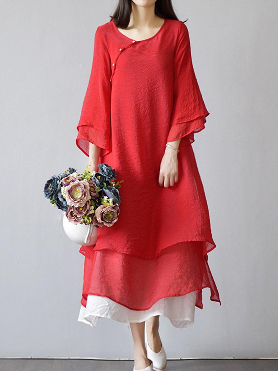 Sweet Heart  Decorative Buttons  Color Block  Bell Sleeve Maxi Dress