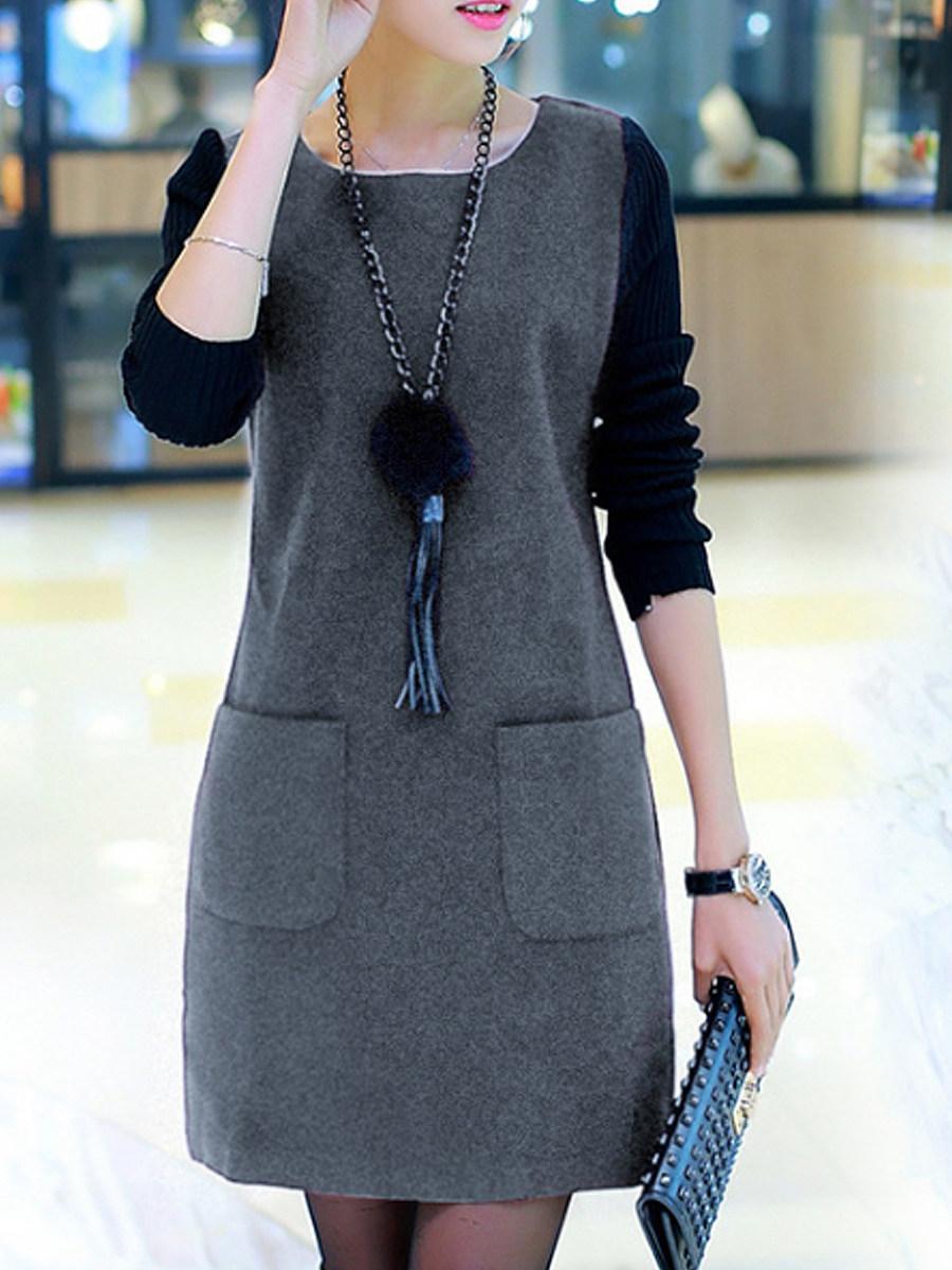 BerryLook Round Neck  Slit Pocket  Color Block Shift Dress