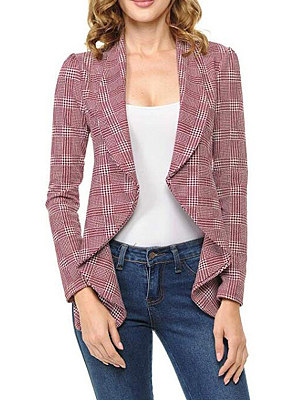 Asymmetric Neck  Checkered Blazer