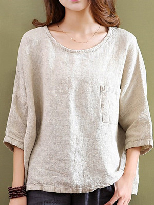 Round Neck Patch Pocket Patchwork Plain Batwing Sleeve Short Sleeve T-Shirts