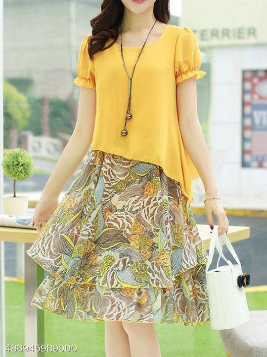 Round Neck Print Patchwork Puff Sleeve Skater Dresses - berrylook.com fb4916947