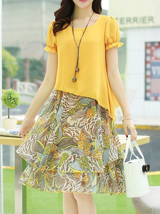 Round Neck Print Patchwork Puff Sleeve Skater Dresses