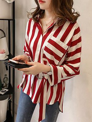 V Neck Patchwork Patchwork Stripes Blouses, 4477112