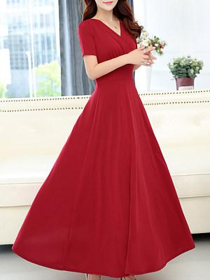 V Neck Plain Maxi Dress