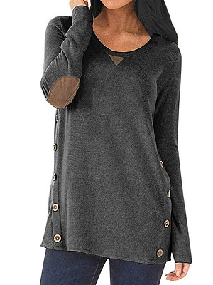 Round Neck Patchwork Casual Decorative Button Decorative Patch Long Sleeve T-Shirt фото