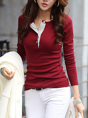 Henley Collar Plain Long Sleeve T-Shirt фото