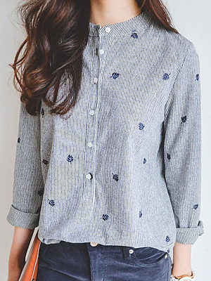 Button Down Collar Single Breasted Embroidery Striped Blouses