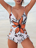 Image of V Neck Floral Printed One Piece Swimwear For Women