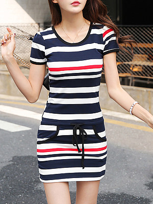 Round Neck  Drawstring  Striped Shift Dress