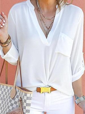 Fashion Pure Color Loose V Collar Chiffon Pocket Shirt Blouse