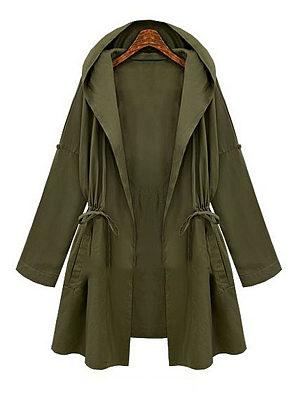 Hooded Drawstring Plain Trench Coat