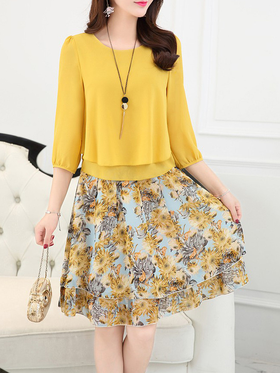 Round Neck  Floral Printed Two-Piece Shift Dress