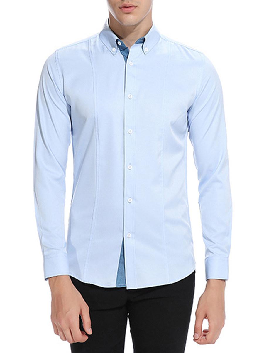 Button Down Collar Solid Men Shirts