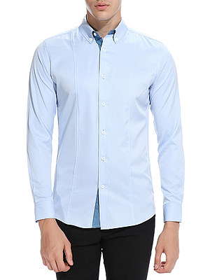 Button Down Collar Solid Men Shirts фото