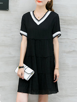 Sweet Heart Color Block Shift Dress