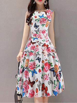 Round Neck Print Skater Dress, 7157537