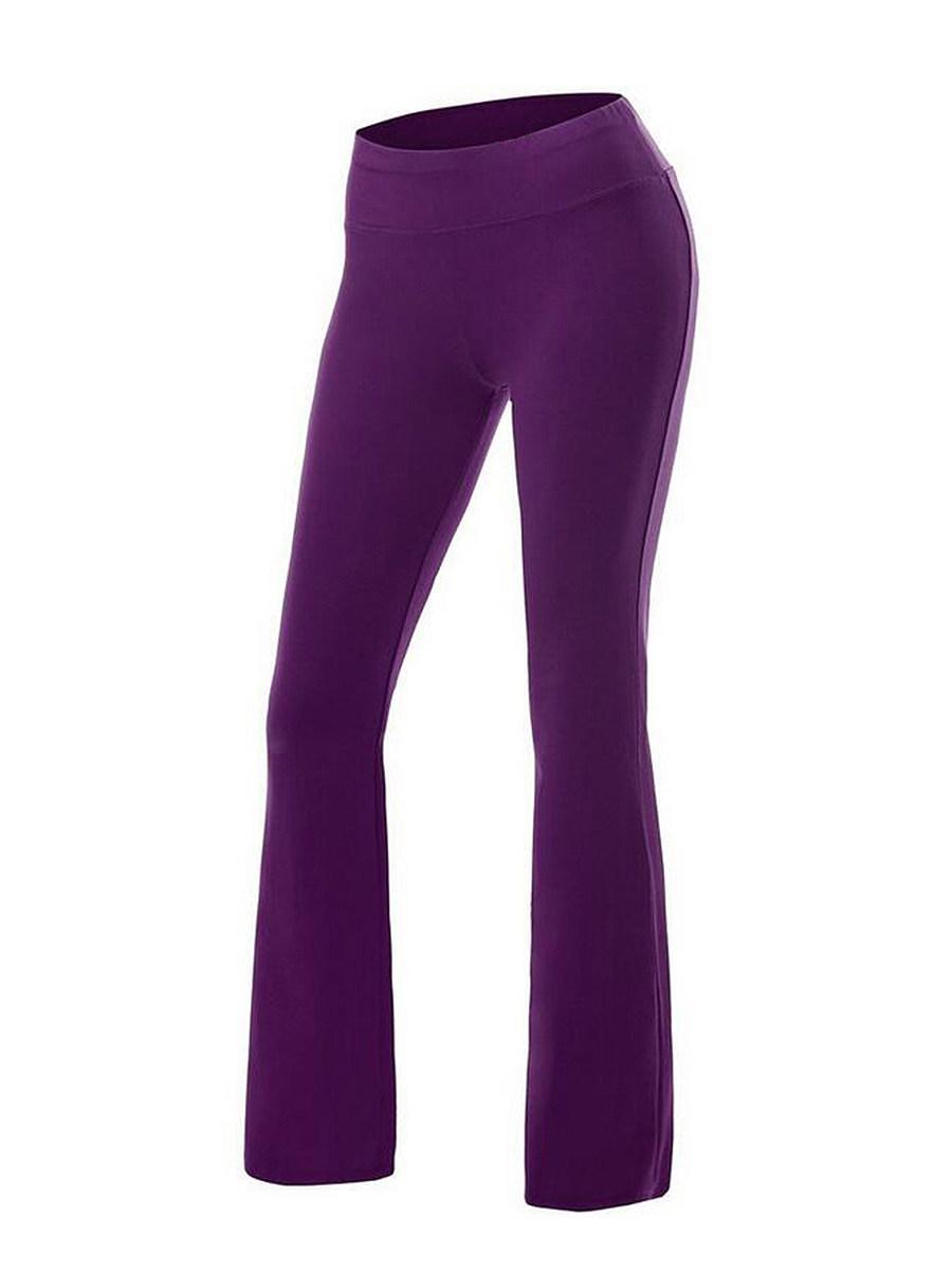 Plain  Straight  Mid-Rise Casual Pants