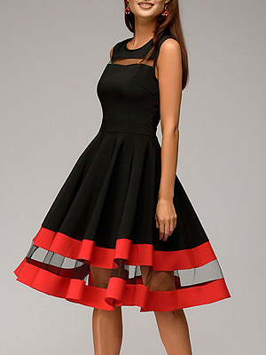 Round Neck Patchwork Color Block Skater Dress фото