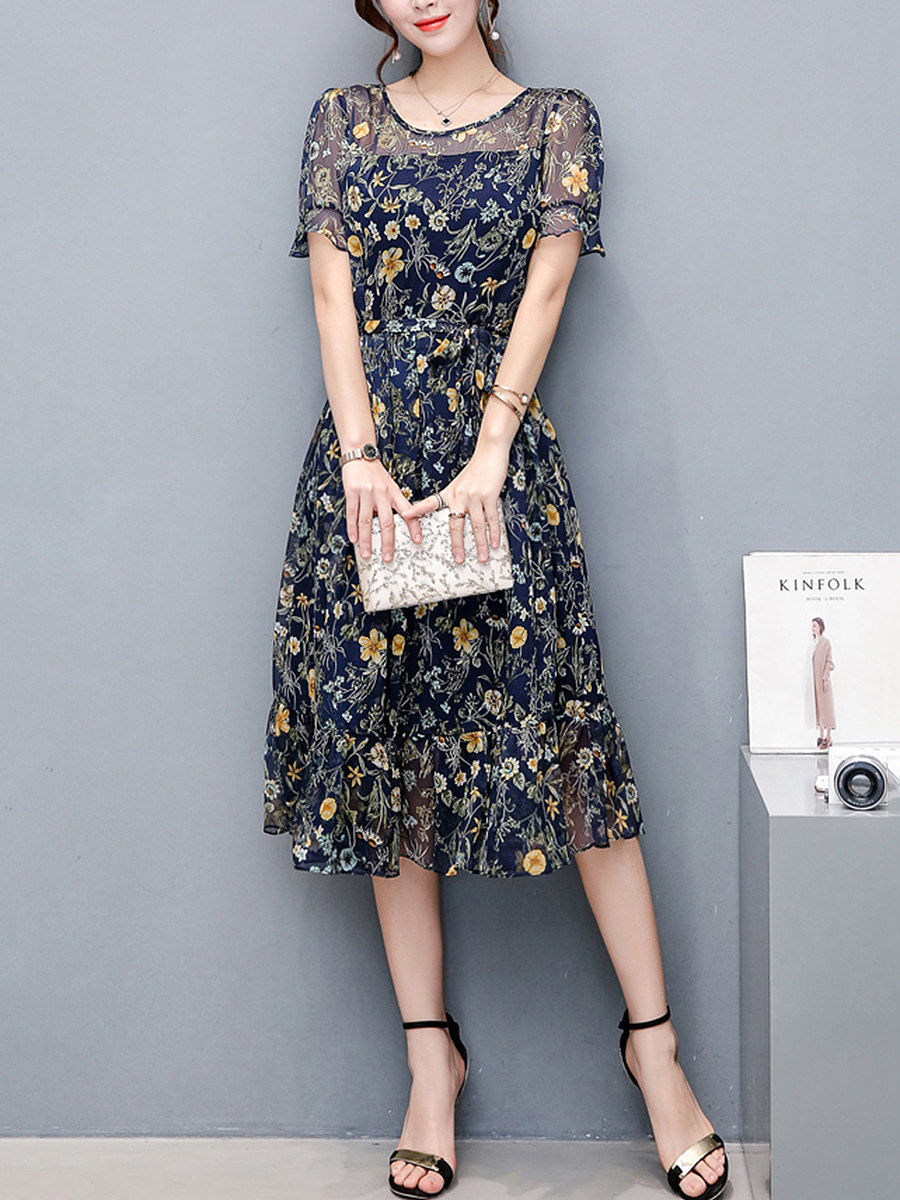 Round Neck Ruffled Hem Floral Hollow Out Chiffon Maxi Dress
