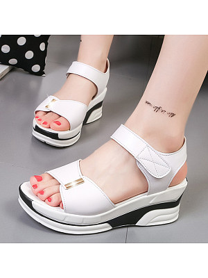 Plain High Heeled Ankle Strap Peep Toe Casual Date Wedge Sandals, 4819131