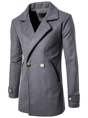 Lapel Pocket Plain Longline Men Coat