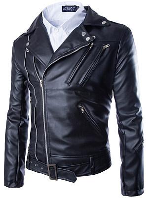 Notch Lapel  Zips  Decorative Hardware  Plain Men Jacket