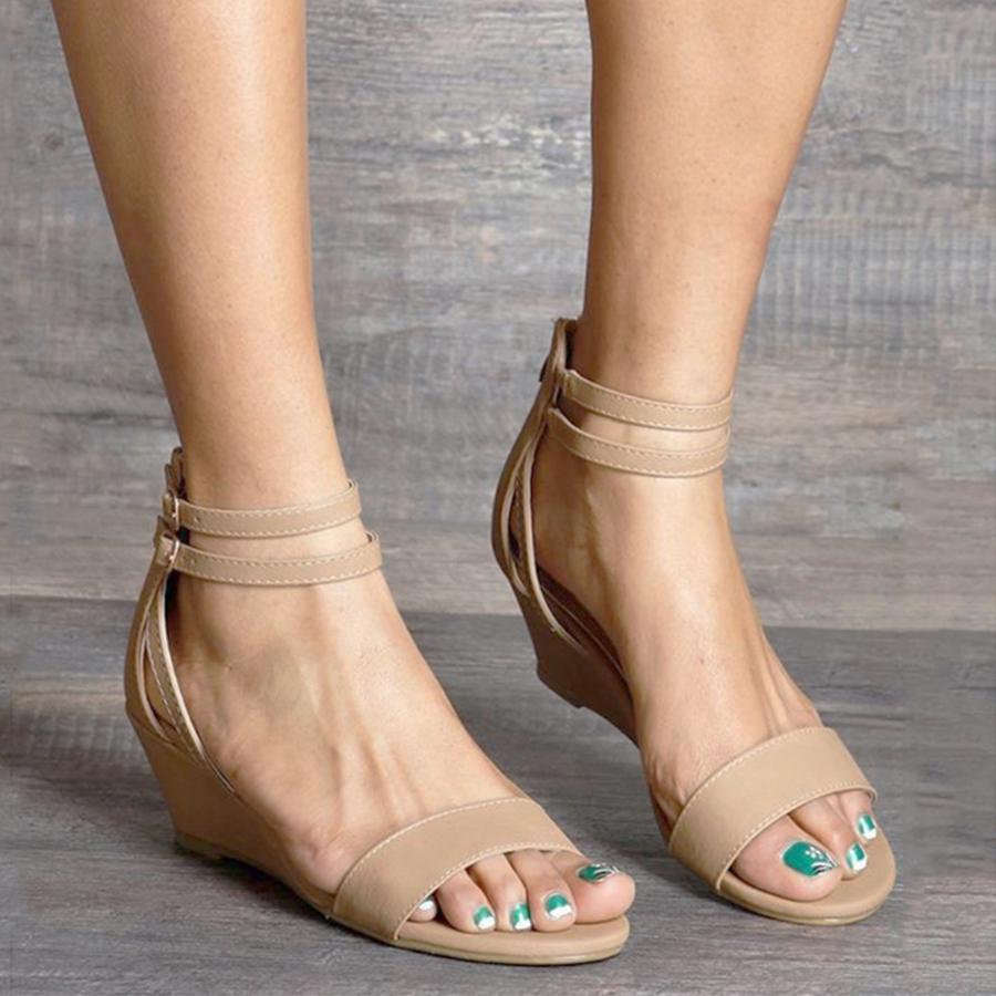 Peep Plain Coerdxb Toe Wedge Strap Date Sandals Ankle OPX8ZNkwn0