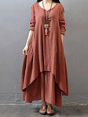V Neck  Asymmetric Hem Decorative Buttons  Plain Maxi Dresses