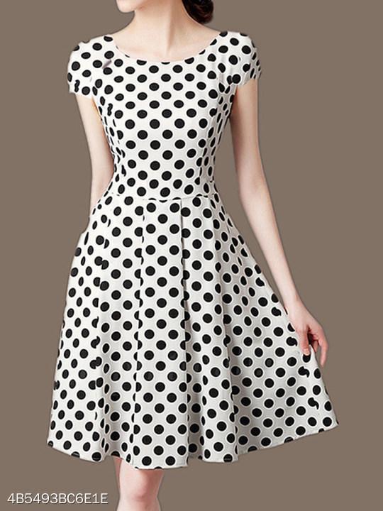Round Neck Polka Dot Skater Dress