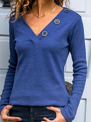 Autumn Spring Polyester Women V-Neck Decorative Button Plain Long Sleeve T-Shirts