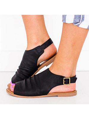 Plain Flat Peep Toe Casual Date Flat Sandals фото