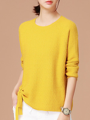 Round Neck Patchwork Cute Plain Long Sleeve Knit Pullover, 9474446