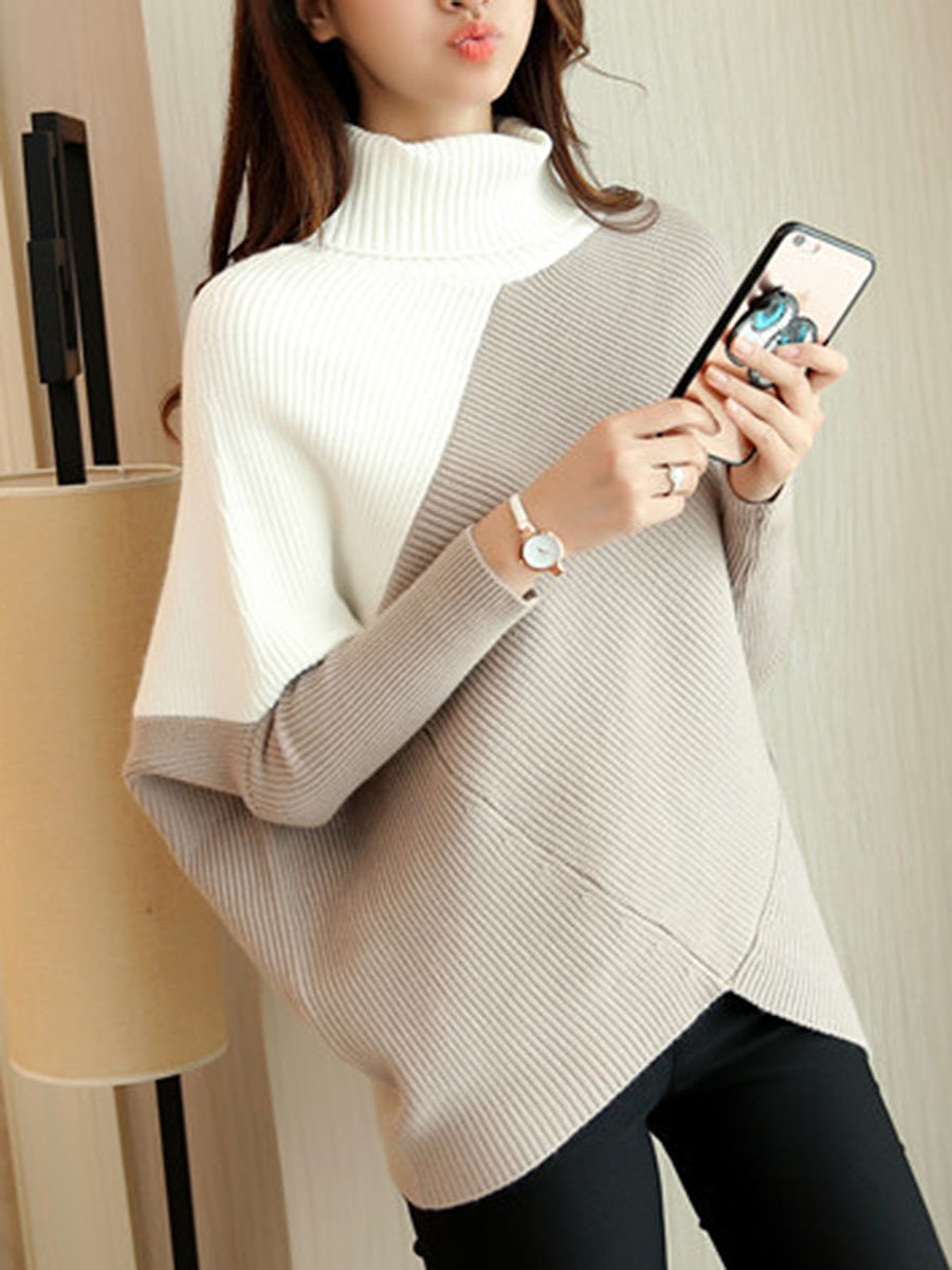 High Neck  Asymmetric Hem  Color Block Pullover