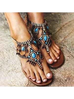 Bohemian Flat Peep Toe Casual Date Flat Sandals, 6273789
