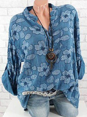 Band Collar Loose Fitting Print Blouses, 5878180