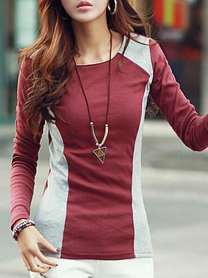 Autumn Spring Summer  Cotton  Women  Round Neck  Color Block Plain  Long Sleeve Long Sleeve T-Shirts