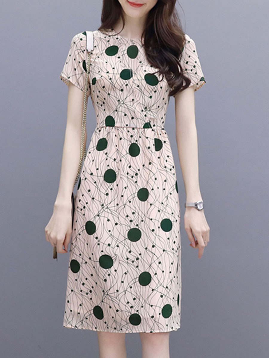BerryLook Round Neck  Polka Dot Printed Skater Dress